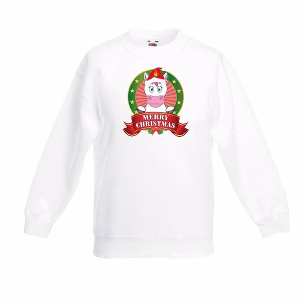 Kerst sweater voor kinderen met eenhoorn print - wit - jongens en meisjes sweater 7-8 jaar (122/128)