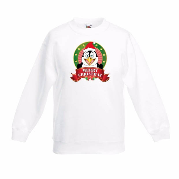 Kerst sweater voor kinderen met pinguin print - wit - jongens en meisjes sweater 3-4 jaar (98/104)