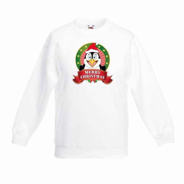 Kerst sweater voor kinderen met pinguin print - wit - jongens en meisjes sweater 7-8 jaar (122/128)