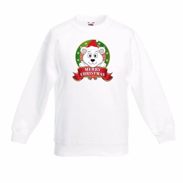Kerst sweater voor kinderen met ijsbeer print - wit - jongens en meisjes sweater 7-8 jaar (122/128)