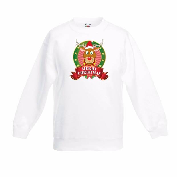 Kerst sweater voor kinderen met rendier Rudolf print - wit - jongens / meisjes sweater 3-4 jaar (98/104)