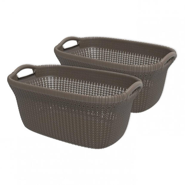Curver Knit heupwasmand - 40 liter - harvest brown - set van 2