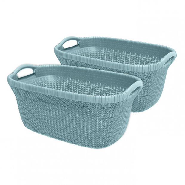 Curver Knit heupwasmand - 40 liter - misty blue - set van 2