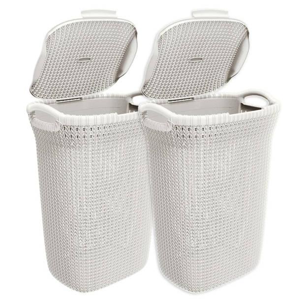 Curver Knit wasbox - 57 liter - oasis white - set van 2