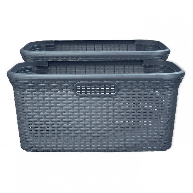 Curver Style heupwasmand - 45 liter - grijs - set van 2