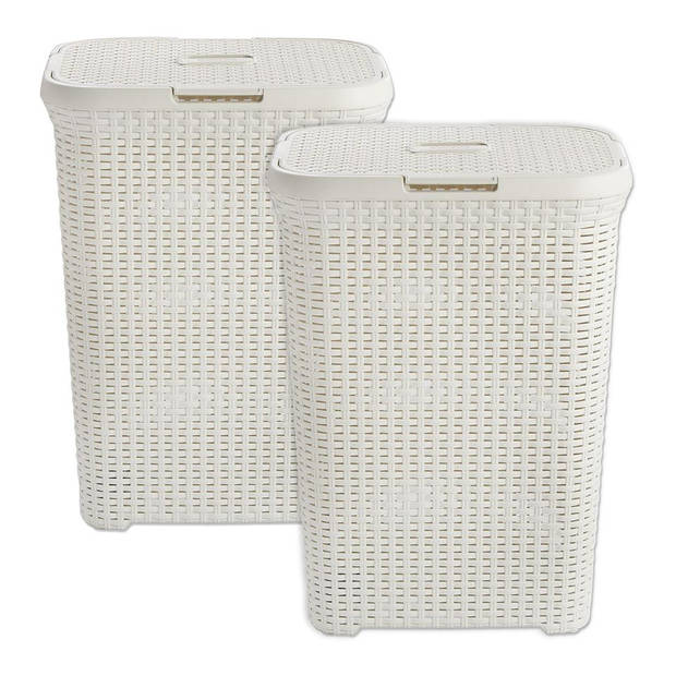 Curver Style wasbox - 60 liter - wit - set van 2