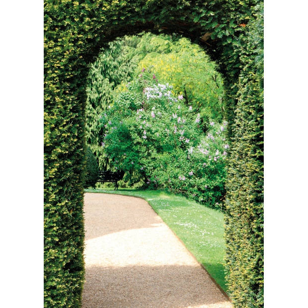 Tuinschilderij Garden view path 70x130cm