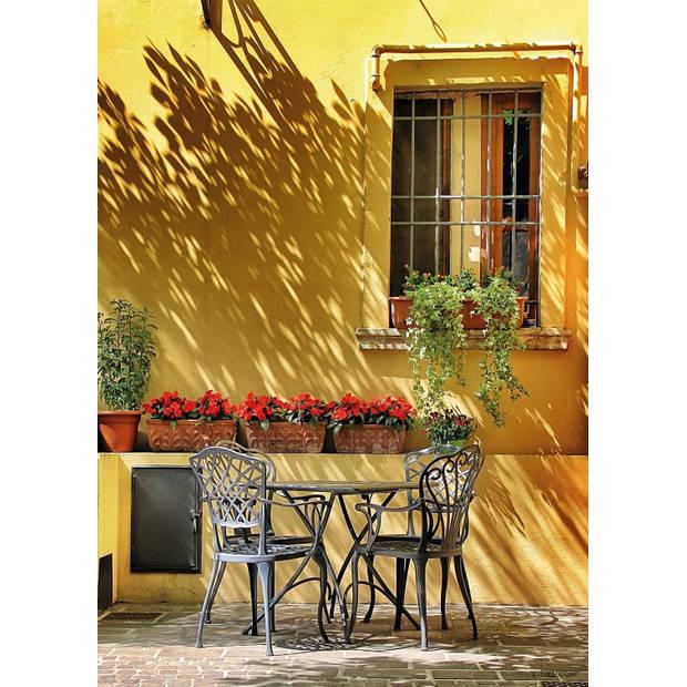 Tuinschilderij Terrace Yellow Wall 70x130cm