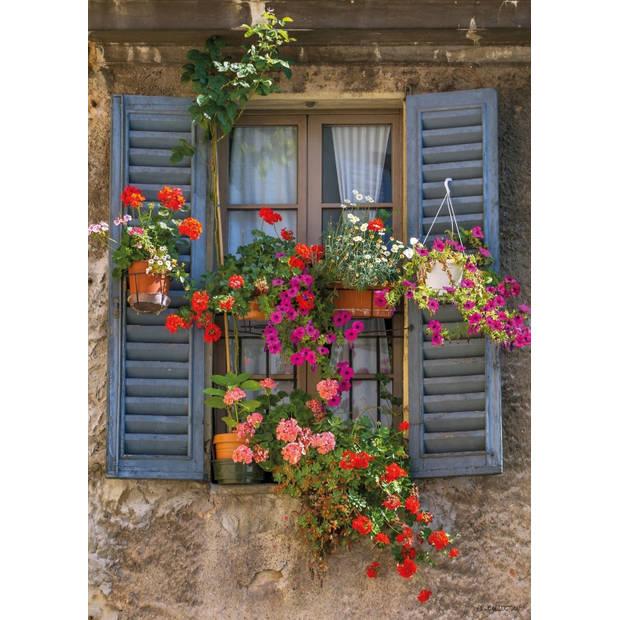 Tuinschilderij Blue shutters 70x130cm