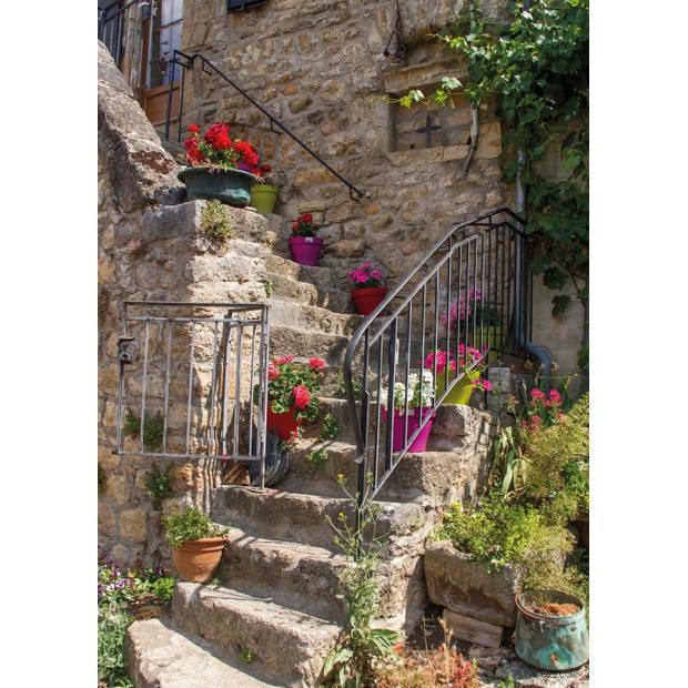 Tuinschilderij Flowers on stairs 70x130cm