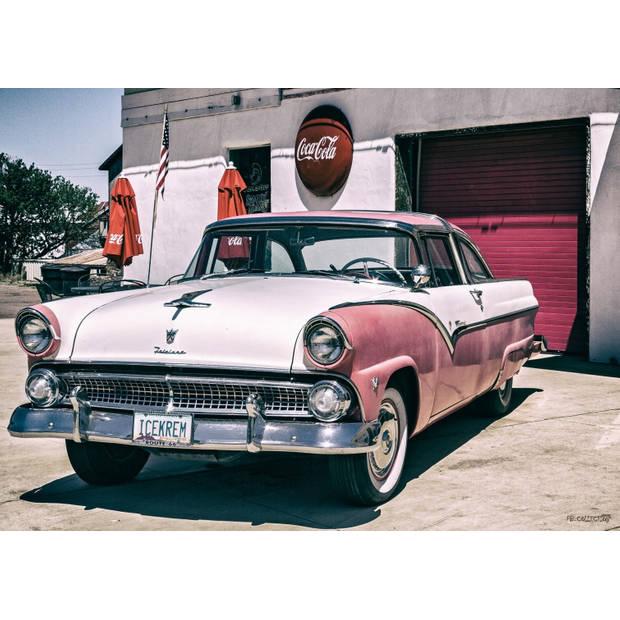 Tuinschilderij Car Pink 70x130cm