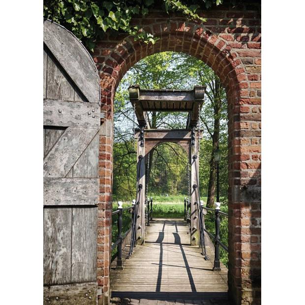 Tuinschilderij Door and Bridge 70x130cm