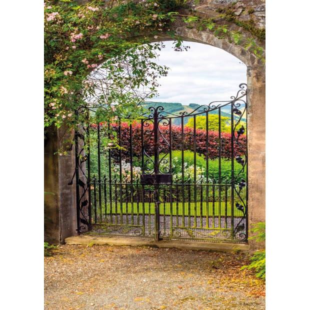 Tuinschilderij Garden view fence 70x130cm