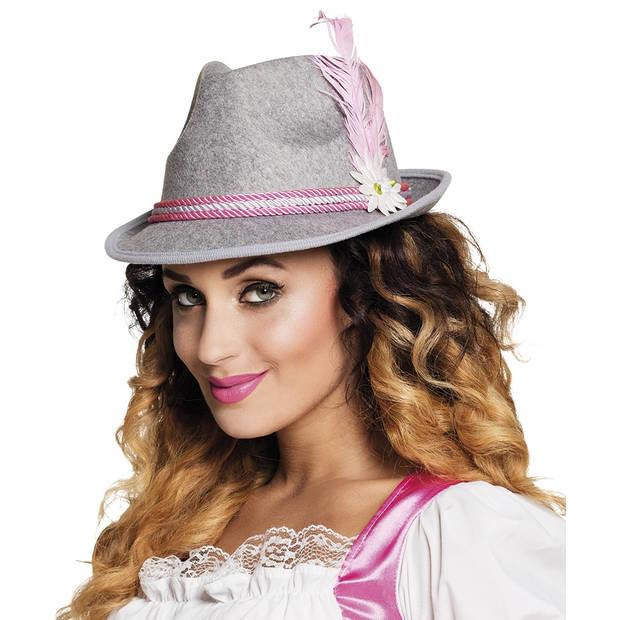 Boland hoed Oktoberfest one size grijs/roze