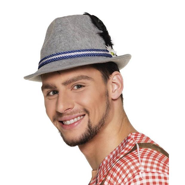 Boland hoed Oktoberfest one size grijs/blauw