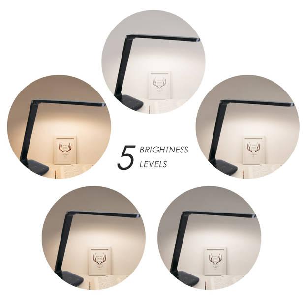 Aigostar Tokyo - LED bureaulamp - Dimbaar - USB oplaadpoort - Draadloos opladen - Zwart