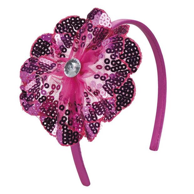 Boland tiara Fleurette dames polyester roze