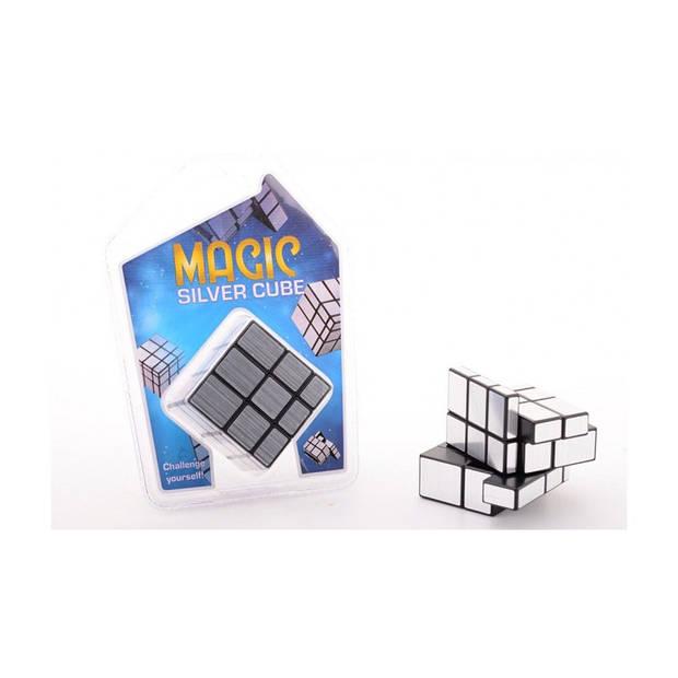 Johntoy magische kubus junior 5,5 cm zilver
