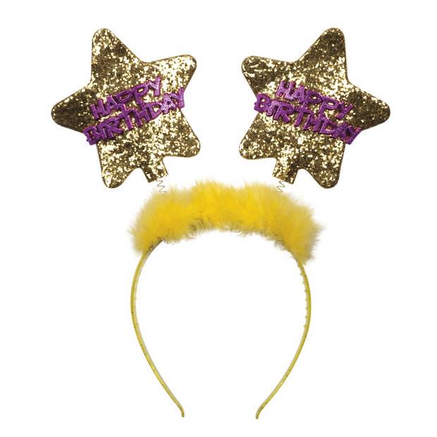 Boland tiara Star 'happy Birthday' geel