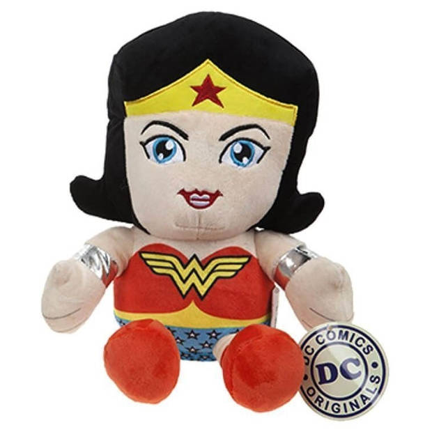 DC Comics zittende knuffel Wonderwoman pluche 25 cm rood/zwart
