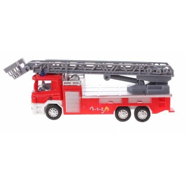 Johntoy ladderwagen Super Cars 1:64 rood