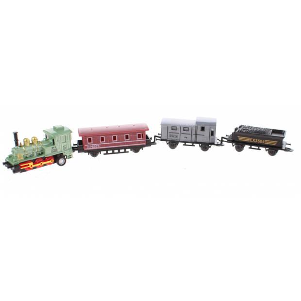 Johntoy speelgoedtrein met drie wagons 6 cm groen