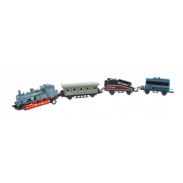 Johntoy speelgoedtrein met drie wagons 7 cm blauw