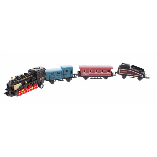 Johntoy speelgoedtrein met drie wagons 7 cm zwart