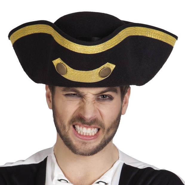 Boland hoed admiraal Tricorne zwart