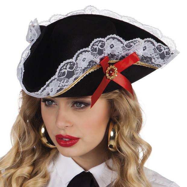 Boland hoed piraat Stacey zwart