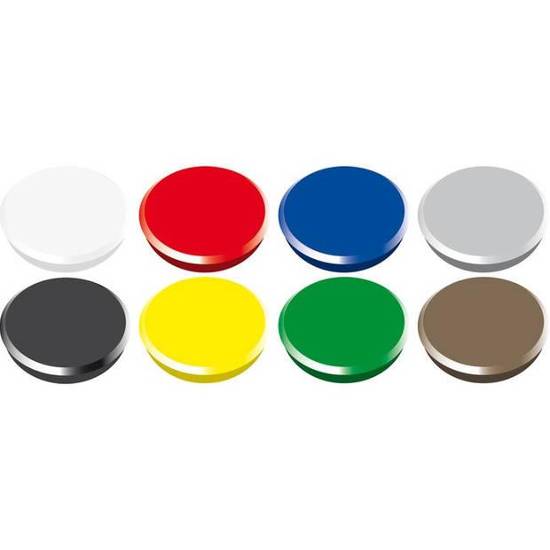 magneet Alco 24mm rond doos a 10 stuks assorti