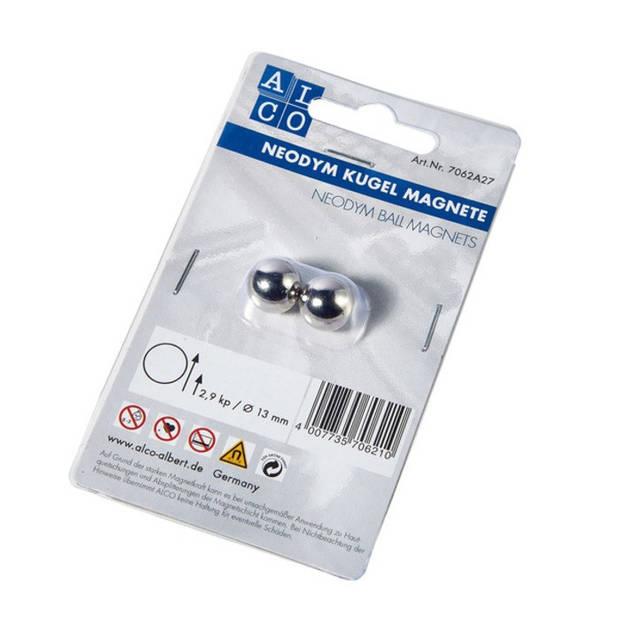 neodym kogelmagneet Alco 13mm blister 2 stuks zilver