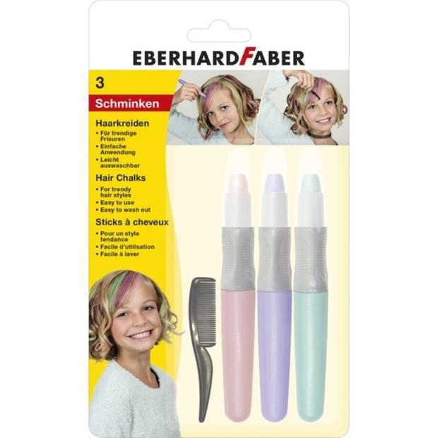 Haarkrijt Eberhard Faber set 3 stuks - roze, paars, turquoise