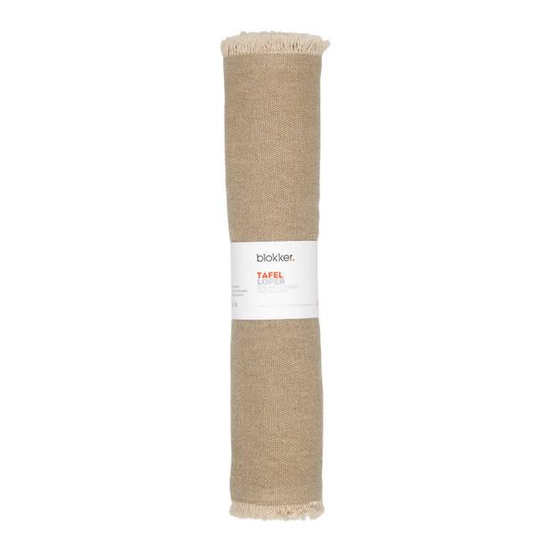 Blokker tafelloper - beige - denimlook - 33 x 185 cm