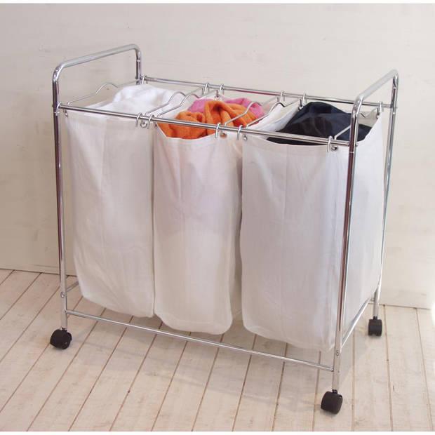Compactor wasmandrek - 3-delig - chroom/wit