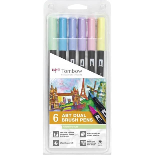 Tombow ABT dual-brush tekenpennen - pastel kleuren - set van 6