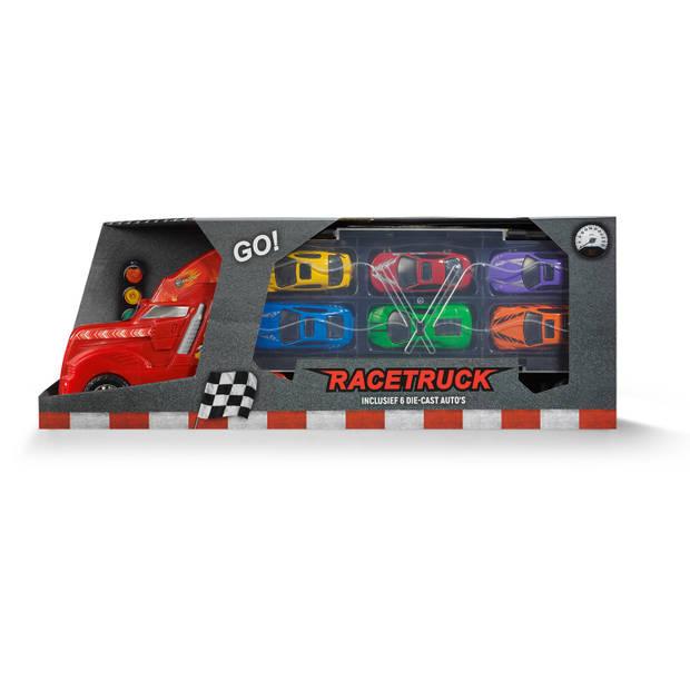 Blokker Race truck met oplegger - Inclusief 6 Die-cast Auto's