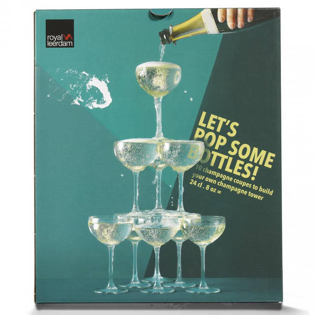 Royal Leerdam Let's Pop champagneglazen - 15 cl - set van 10