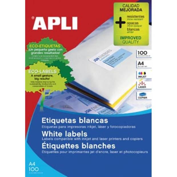Apli witte etiketten ft 105 x 74 mm (b x h), 800 stuks, 8 per blad (1279)