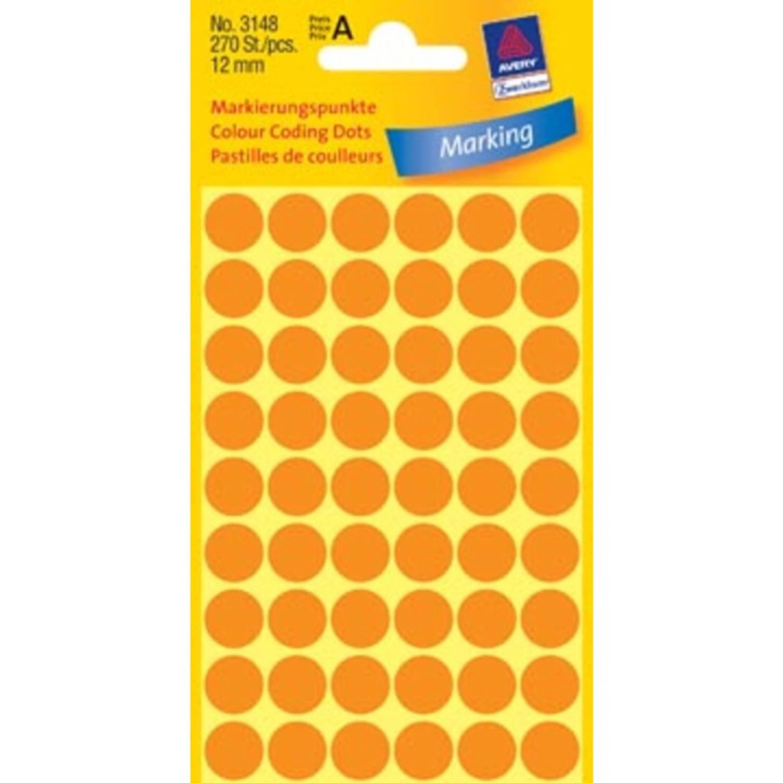 Korting Avery Ronde Etiketten Diameter 12 Mm, Lichtoranje, 270 Stuks