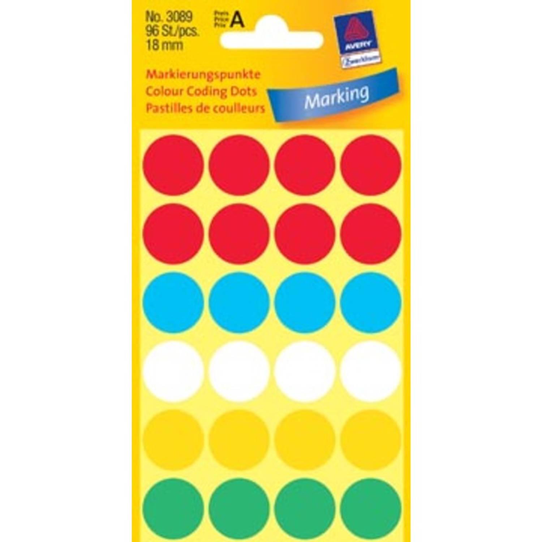 Korting Avery Ronde Etiketten Diameter 18 Mm, Geassorteerde Kleuren, 96 Stuks