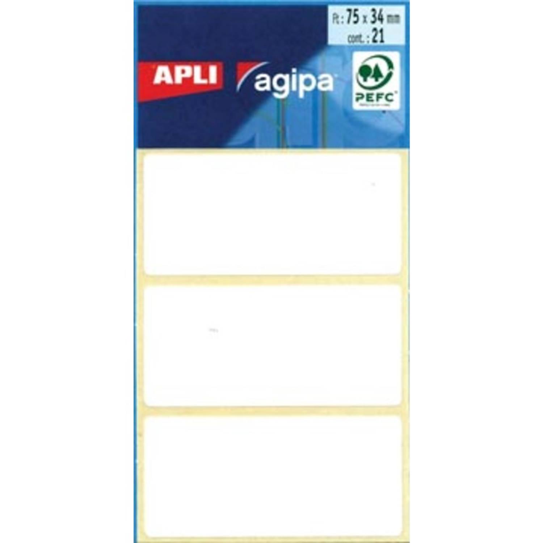Korting Agipa Witte Etiketten In Etui Ft 34 X 75 Mm (B X H), 21 Stuks, 3 Per Blad