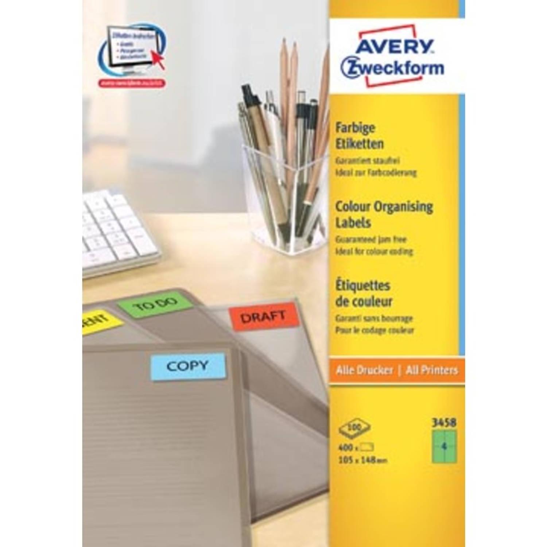 Avery gekleurde universele etiketten ft 105 x 148 mm (b x h), 400 stuks, groen