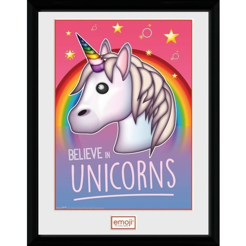 GB Eye poster in lijst Emoji Believe in Unicorns 30 x 40 cm