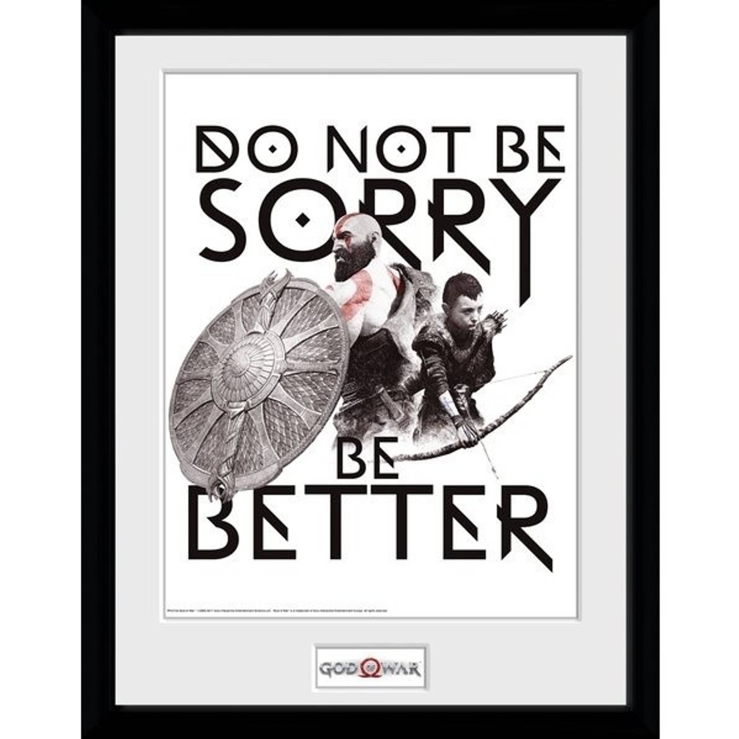 GB Eye poster in lijst God of War Don't be sorry 30 x 40 cm