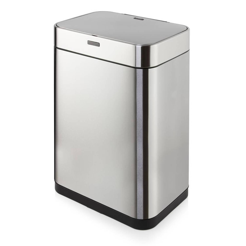 Tower Sensor prullenbak - rechthoekig - 60 liter - zilverkleurig