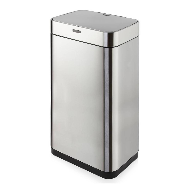 Tower Sensor prullenbak - rechthoekig - 75 liter - zilverkleurig