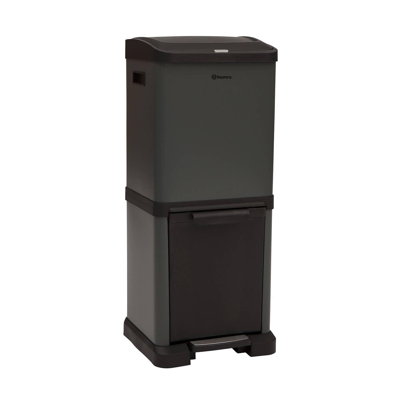 Homra FYGIO afvalemmer 34 liter Black met afvalscheiding