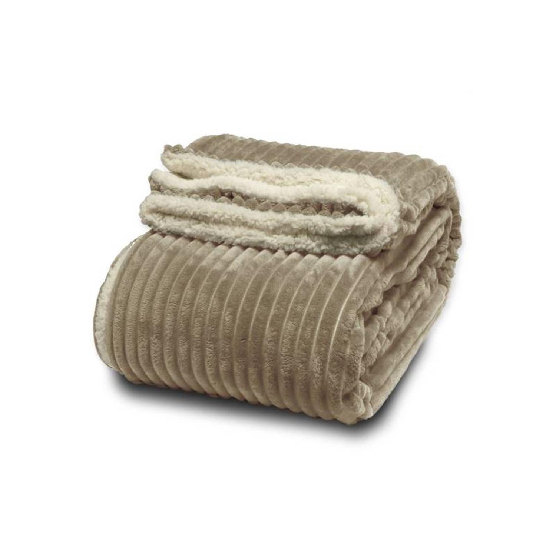 Unique Living Dez Plaid - 100% polyester, Fleece polyester - 150x200 cm - Taupe