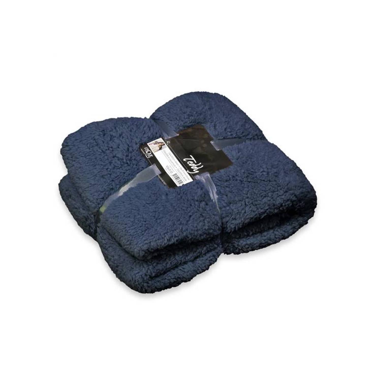 Unique Living Teddy fleece plaid - 100% polyester, Fleece polyester - 150x200 cm - Blauw